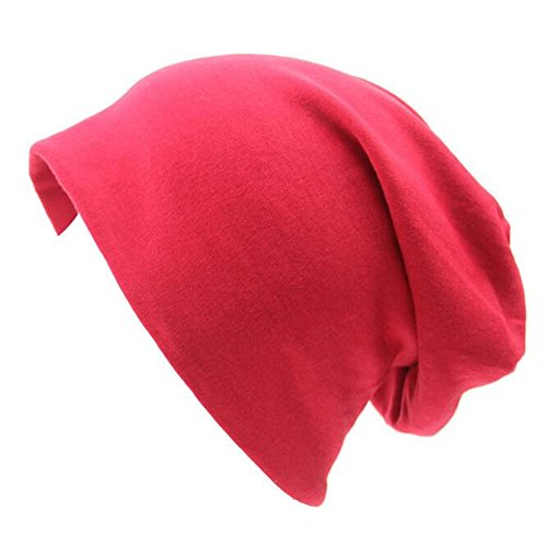 Century Star Unisex Baggy Lightweight Hip-Hop Soft Cotton Slouchy Stretch Beanie Hat Red