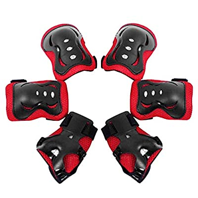 Yesbaby 6pcs/Set Kids Children Sports Protective Gear Set Knee Elbow Pads Wrist Guards for Cycling Skateboard Skating (Color : Red): Home & Kitchen