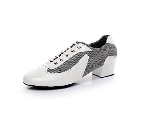 Minishion Tqj9018 Zapatillas Para Hombre De Baile Con Cordones De Baile Latino, Blanco, Minishion Tqj9018