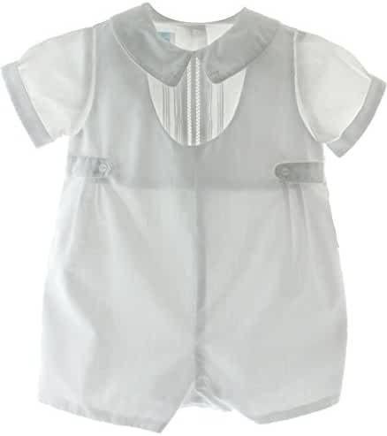 Boys White Baptism Christening Romper Outfit Side Tabs