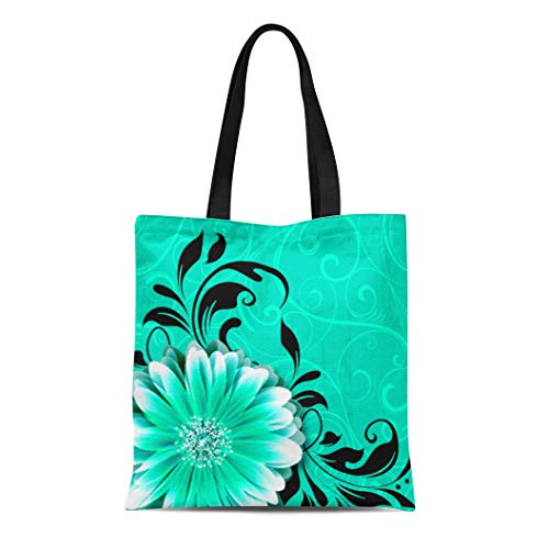 - Semtomn Cotton Line Canvas Tote Bag Daisies Gerbera Daisy Scroll Mint Green Black Flowers Swirls Reusable Handbag Shoulder Grocery Shopping Bags