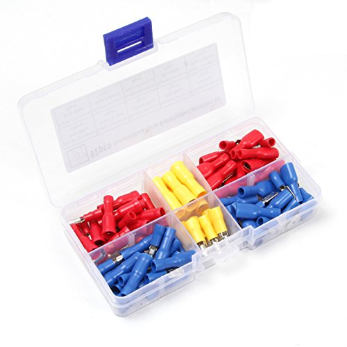 Ginsco 92pcs 10-22 AWG Insulated Female Male Bullet & Spade Connector Wire Crimp Terminals Set