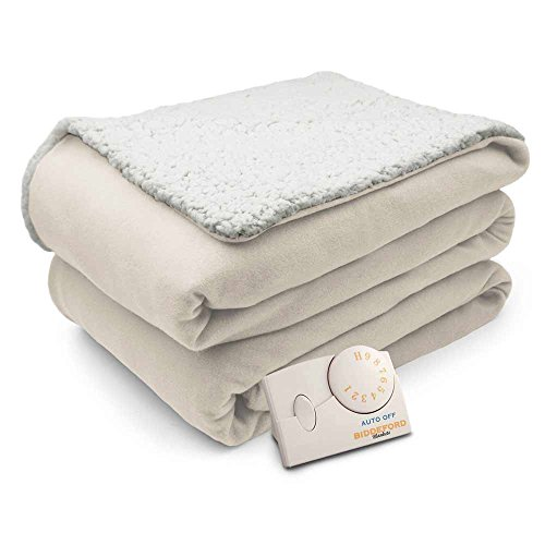 Pure Warmth Comfort Knit Natural Sherpa Electric Heated Blanket Full Natural