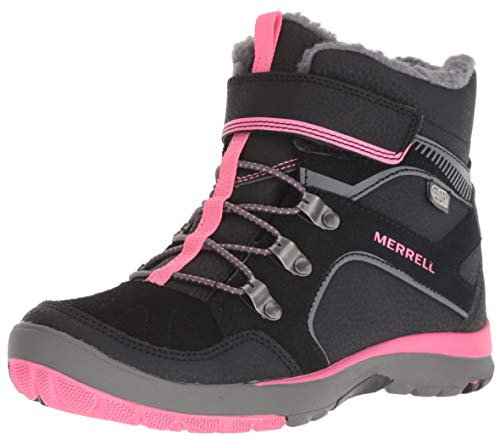 Merrell Boys' Moab FST Polar AC WTRPF Snow Boot, Black/Pink, 2 Medium US Toddler ()