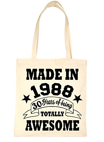 Bag Life In Born Print4u For Birthday 30th Natural Shopping Tote 1998 SIqE4xwaf