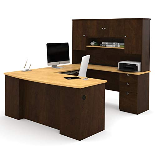 Allure Collection Chocolate & Maple U-shaped Desk with Hutch Included