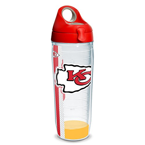 Tervis 1231125 NFL Kansas City Chiefs Stripe Tumbler with Wrap and Red with Gray Lid 24oz Water Bottle, Clear