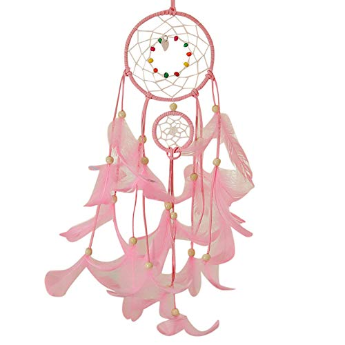 - Hot Sale!DEESEE(TM)Handmade Dream Catcher Feathers Night Light Car Wall Hanging Room Home Decor (Pink)