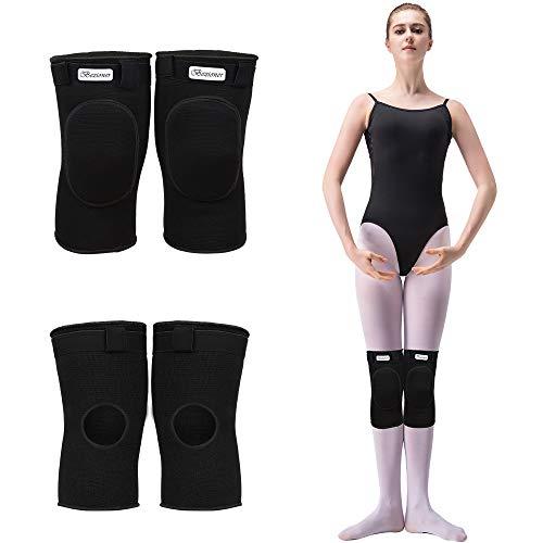 Bezioner Knee Pads for Dancer Knee Compression Sleeves Support for Women Girls Boys Adult (Black, L)