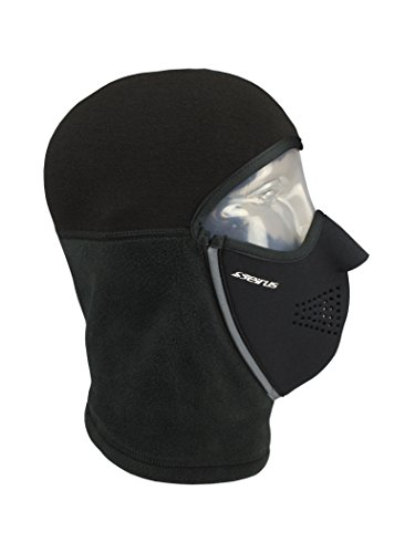 Seirus Innovation Adult Magnemask Convertible Cold Weather Ultra-Thin Thermax Mask Combo with Hood with Fleece Neck Warmer, Black, Small/Medium Seirus Face Mask