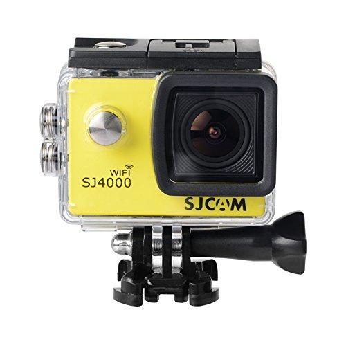 16GB TF Karte + Original SJCAM SJ4000 Wifi Action Kamera, HD 1080P WIFI wasserdichte Sport Action cam H.264 12MP 170 Grad Weitwinkel Objektiv DV für Tauchen Biking + 1pcs Ladegerät + 1pcs Extra Batterie (Gelb)