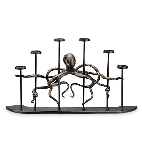 Viridian Bay Octopus Fireplace Candelabra -
