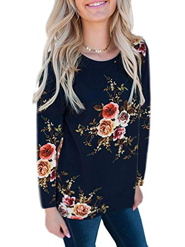 kigod Women's Cute Round Neck Floral Tee Shirt Top Chiffon Long Sleeve Tops Blouse for Party (Navy Blue, - T-shirt Blue Round Neck