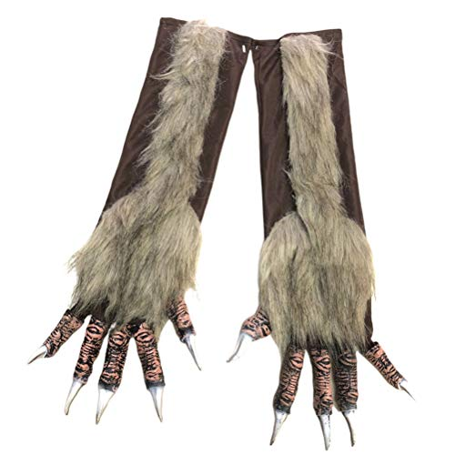 Halloween Wolf Claws (Amosfun Wolf Gloves Hairy Simulation Wolf Claw Halloween Party Props Animal Role Play)