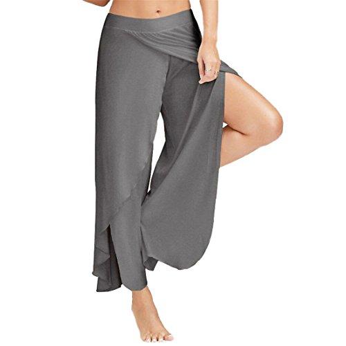 Womens Yoga Pants,YKA,Girl Sexy Waist Loose Wide Leg Casual Pants Trousers Leggings For Ladies (L, Dark Gray)