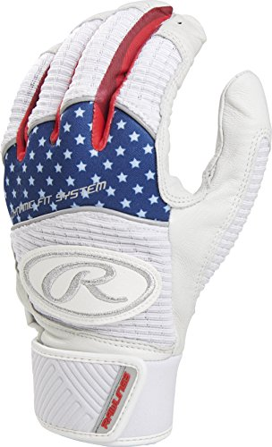 Rawlings WH950BG-USA-91 Workhorse Batting Gloves, Red/White/Blue