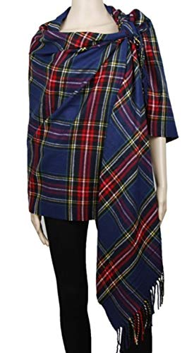 2 PLY 100% Cashmere Scarf BLANKET Collection Made in Scotland Wool Solid Plaid (Navy Blue 8-1)