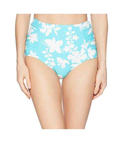 Michael Michael Kors Women's Floral Vine High-Waisted Bikini Bottoms Turquoise Medium