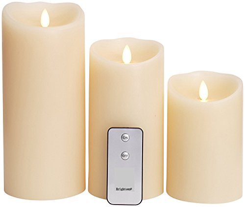 Set of 3 Flameless Candles: 3.5''x5'' 3.5''x7'' 4''x9'' Ivory Moving Flame Candles with Timers, Remote Control
