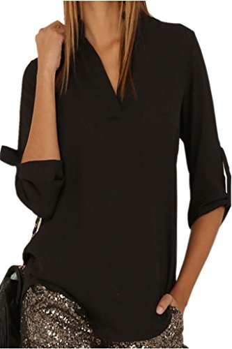 Dokotoo Womens Casual Chiffon Ladies V-Neck Cuffed Sleeve Blouse Tops Large Black,Black,(US12-14)L