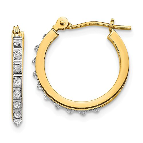 14K Yellow Gold Diamond Fascination 15mm Small Hinged Leverback Hoop Earrings