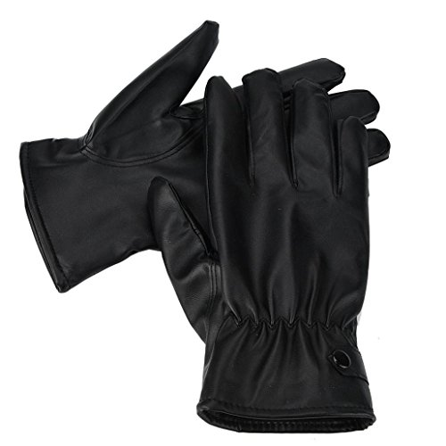 Winter Men's PU Gloves, Lowprofile Men Fashion Warm Cashmere Leather Gloves Motorcycle Driving Waterproof Gloves