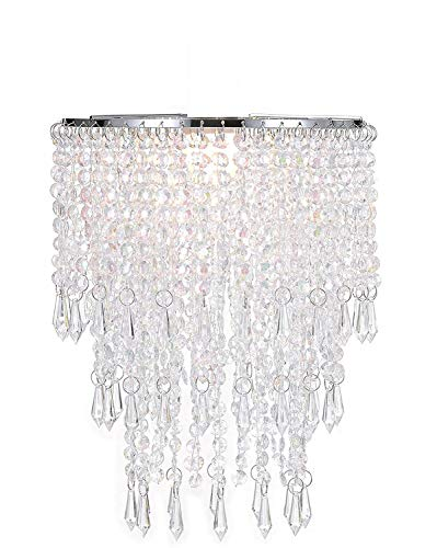 Waneway 3 Tiers Ceiling Chandelier Pendant Light Shade with Acrylic Jewel Droplets, Beaded Lampshade with Chrome Frame and Clear Beads, Diameter 8.7 inches, Clear (Lamp Shade Spinning)