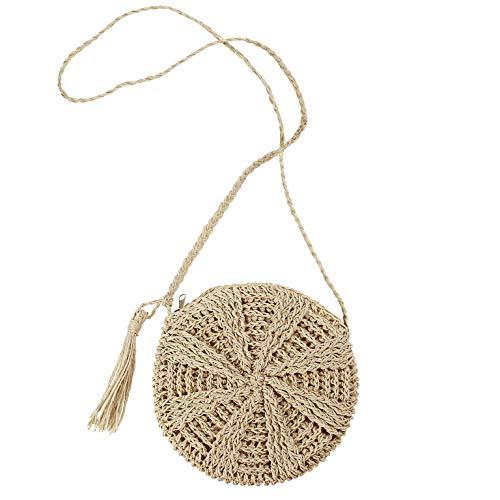 Straw Crossbody Bag Women Summer Beach Shoulder Bag Handmade Woven Purse with Tassel B05 Beige (Best Beach Bag 2019)
