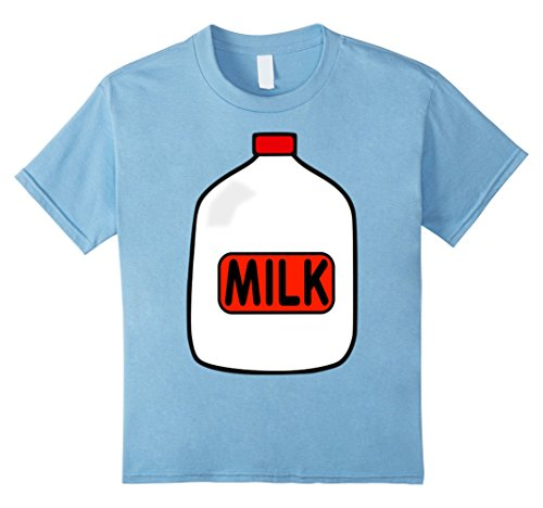 Child Milk Costumes (Kids Gallon Of Milk Costume T-Shirt, Match With Cookie Costumes 12 Baby Blue)
