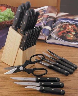 Diamond Cut Ultra 21-Piece Cutlery Set with Wood Storage Block