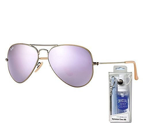 Ray Ban RB3025 167/4K 58mm Lilac Mirror Aviator Sunglasses Bundle-2 Items (Lilac Bundles)