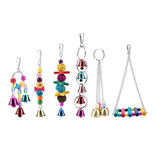 Yosooo Pet Birds Toys, 6 Pcs/Set Colorful Wooden & Metal Pet Bird Swing Toy Bells Parrot Cage Hanging Swing Toys