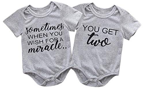 Mini honey 2Pcs Infant Twins Baby Boys Girls Short Sleeve Letter Print Romper Bodysuit Summer Outfit Clothes (0-3 Months, Gray)