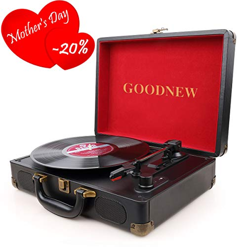 GOODNEW Vinyl Record Player Turntable, 3-Speed Portable Stereo Turntable with Built in Speakers,Support Headphone & RCA Output and AUX Input Jack (Small one, red)