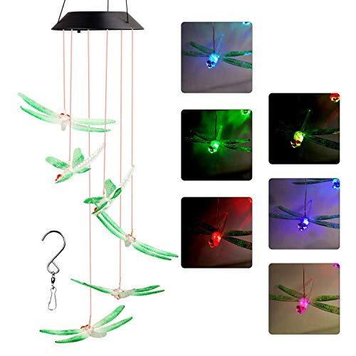 ZOUTOG Solar String Lights, Color Changing LED Mobile Dragonfly Wind Chimes, Waterproof Outdoor Solar Lights for Home/Yard/Patio/Garden