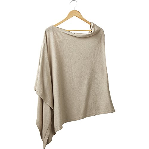 Tickled Pink Women's Elegent Solid Cotton Poncho, -light brown, ONE SIZE FITS -