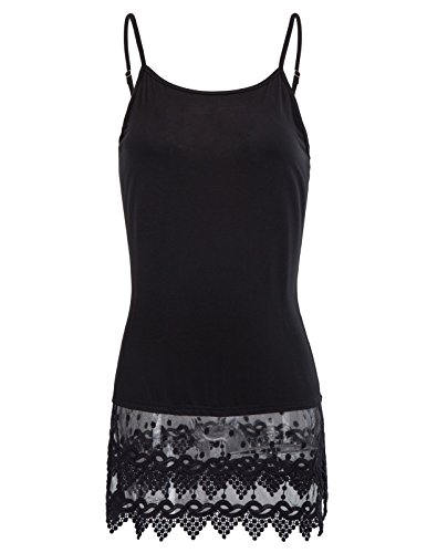 Lightweight Woman Strappy Lace Vest Top For Party(XL,Black 1058)