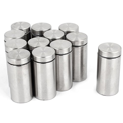Mount Wall Holder Flush Door (Copapa Stainless Steel Wall Mount Silver Tone Standoff Screw Nails for Glass Advertising Screw Nails Glass Standoff (19x40mm) 12 PCS)