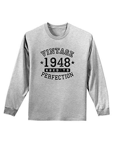 - TooLoud 70th Birthday Vintage Birth Year 1947 Adult Long Sleeve Shirt - Ash Gray - Small