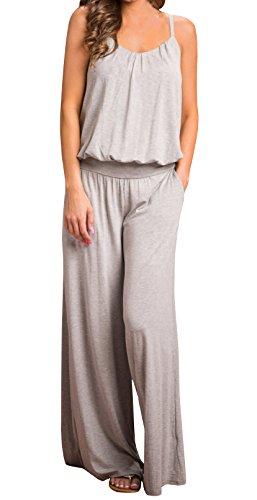 Ermonn Women's Stretch Cotton Suspender Elastic Waistband Wide Leg Jumpsuits Comfy Cotton Romper