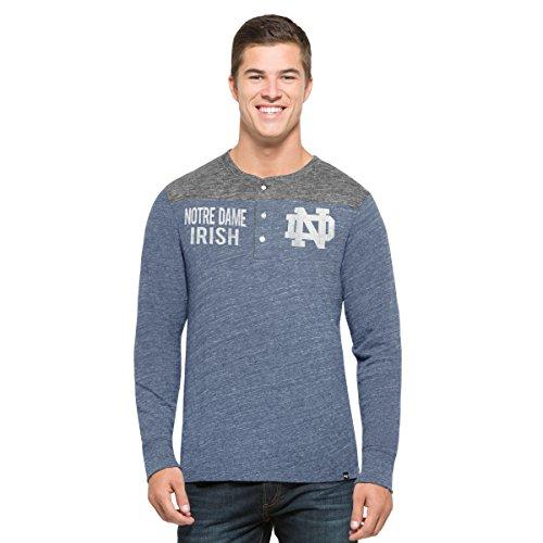 '47 NCAA Notre Dame Fighting Irish Men's Neps Henley Long Sleeve Tee, XX-Large, Nightfall