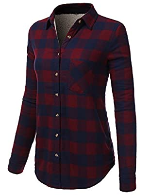 H2H Womens Casual Flannel Plaid Checker Button Down Roll Up And Long Sleeves Shirt Top
