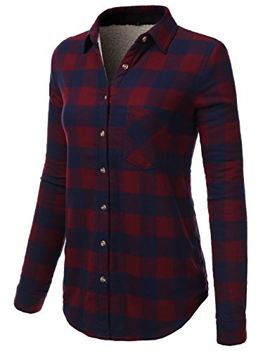 H2H Womens Button Down Long Sleeve Roll Up Checker Flannel Plaid Shirt Top – DiZiSports Store