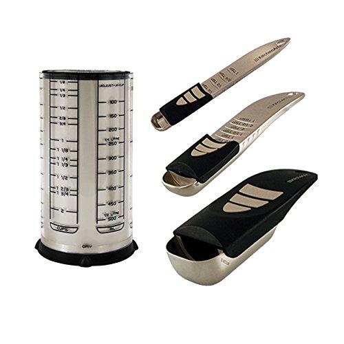 (KitchenArt 58210 Baker's Pro Adjust-A-Measure Set, 4-Piece, Satin)