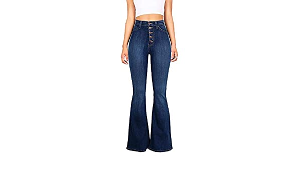Xzante Jeans Con Pata Elefante Apto De Multi Boton Elastico De Cintura Alta Vintage De Mujer Pantalones De Mezclilla Lavados Informal Para Se Ora Azul Oscuro 4xl Lookool Ro