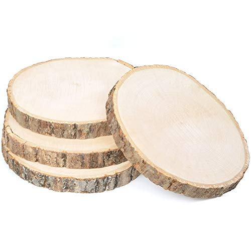 4 Pack Large Natural Wood Slices Round Rustic Slabs Unfinished Wood Sanded 9