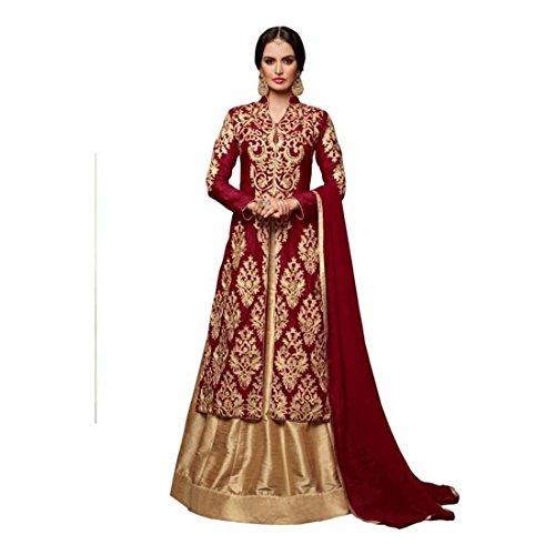 And Set Embroidered Choli Lehenga Semi maroon Dupatta Beige Stitched vvqYIT