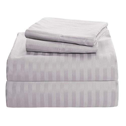 RV Mattress Short Queen Sheet Set - (60x75) Stripe Light Grey 400 Thread Count Egyptian Cotton -Made Specifically for RV, Camper & Motorhomes
