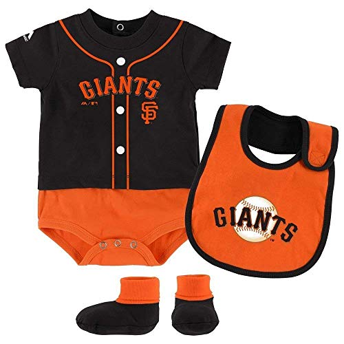 (San Francisco Giants Tiny Player Creeper, Bib, and Bootie Set 12 Months)