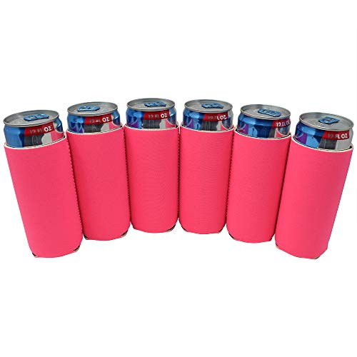 TahoeBay 12 Slim Can Sleeves - Blank Neoprene Beer Coolers - Compatible with 12oz RedBull, Michelob Ultra, White Claw Spiked Seltzer (Hot Pink, 12)